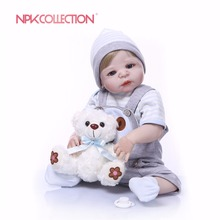 NPK Real 57CM Full Body Silicone Boy Reborn Babies Bear Doll Toys Princess Babies Doll Wig Hair Birthday Gift Kids Brinquedos