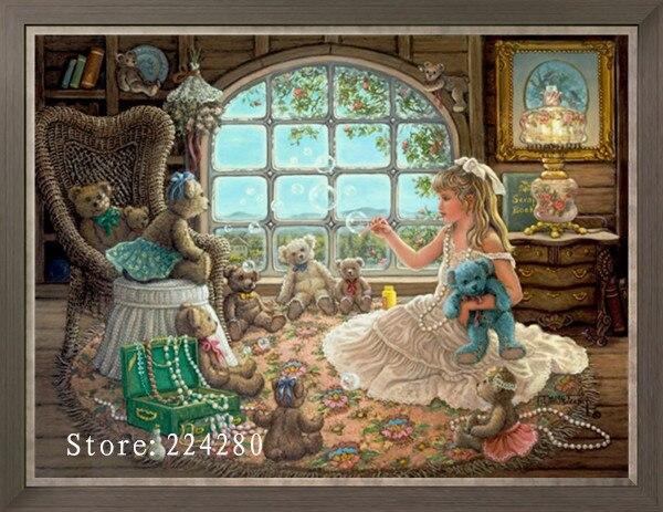 Menina bonito e bonecas needlework, bordado, criança diy 14ct não impresso kits de ponto cruz do bebê, artes padrão cruz-costura decoração