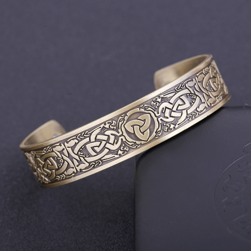 Vintage Irish Lucky Knot Pattern Magnetic Bracelet Magic Magnetic Therapy Viking Men and Women Bracelet Jewelry
