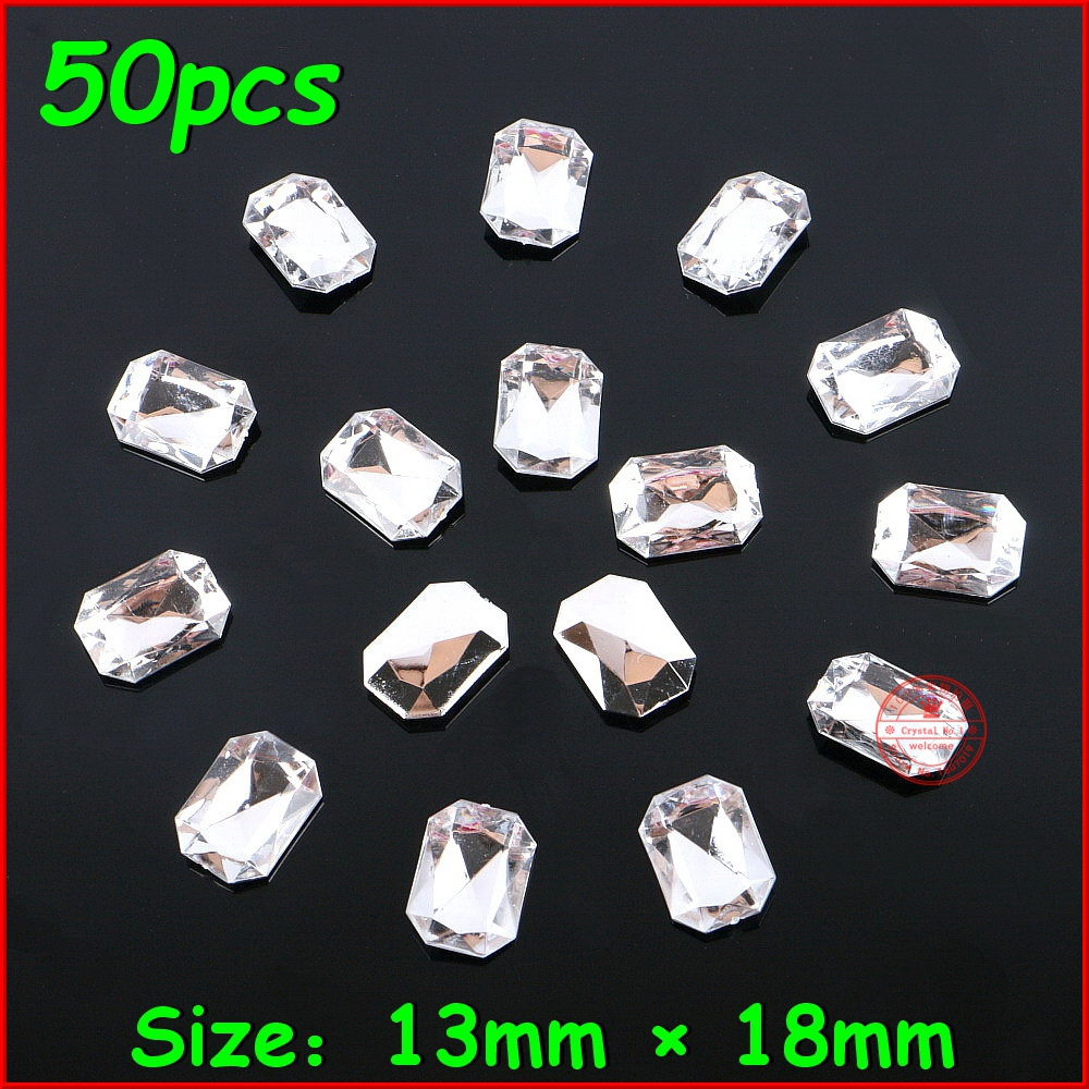 Twilingh 50pcs/lot Top Shiny Rhinestone Crystal Stone Rectangle Sliver No Hole Women Rhinestone DIY Jewelry