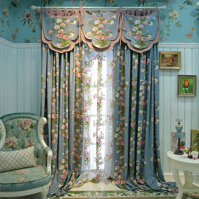 Custom curtains Rural American country cotton linen chenille French window drapes cloth blackout curtain tulle valance N369 window valance