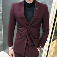 2017 Red Suit Mens Formal Suits Blue Tuxedo Single Button Burgundy Suits Mens Terno Slim Fit 3 Pieces Smocking Pour Hommes 5XL
