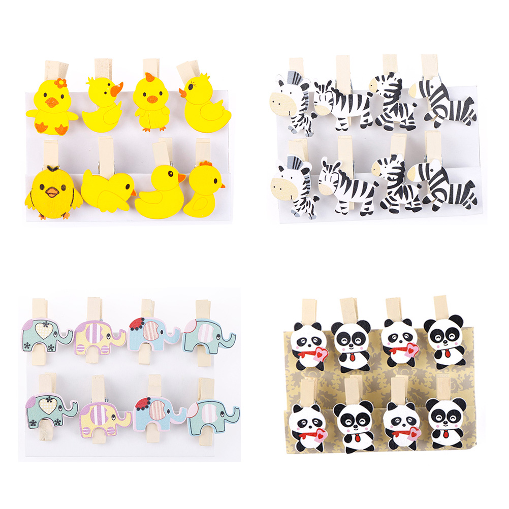 8Pcs/lot DIY Clothes Paper Peg Stationery Wooden Photo Clip Cute Zebra Duck Panda Elephant Clothespin Picture Craft Clips