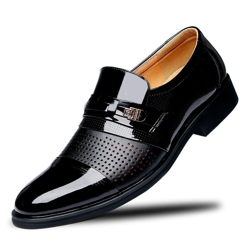 Trou cuir hommes Oxford chaussures à lacets décontracté affaires bureau Simple grande taille 38-48 mâle chaussures de mariage formelles hommes chaussures habillées