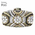 Women's Famous Brand Silver Beaded Plastic Sequins Metal Box Mini Evening Bags Hard Case Metal Clutches Chains Shoulder Bags