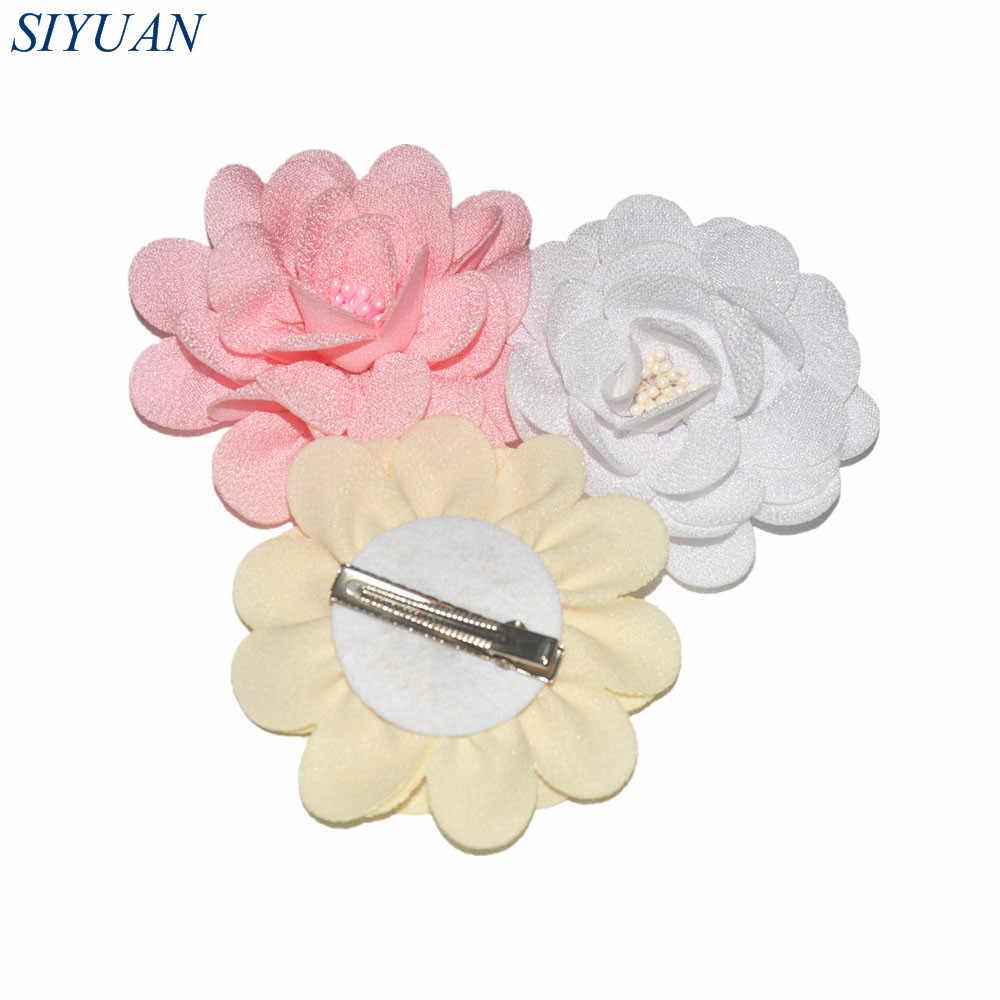 3 Buah/Banyak Promosi Gadis Jepit Rambut 9.0 Cm Pearl Berpusat Kain Goni Bunga dengan Paduan Klip Rambut Terbaru Aksesoris FC118