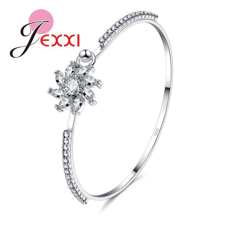 bc7085203ba3 JEXXI a estrenar estilo Simple Cubic Zircon cristal mujeres pulseras  brazaletes para la boda de la manera de la plata esterlina 925 joyería  nupcial