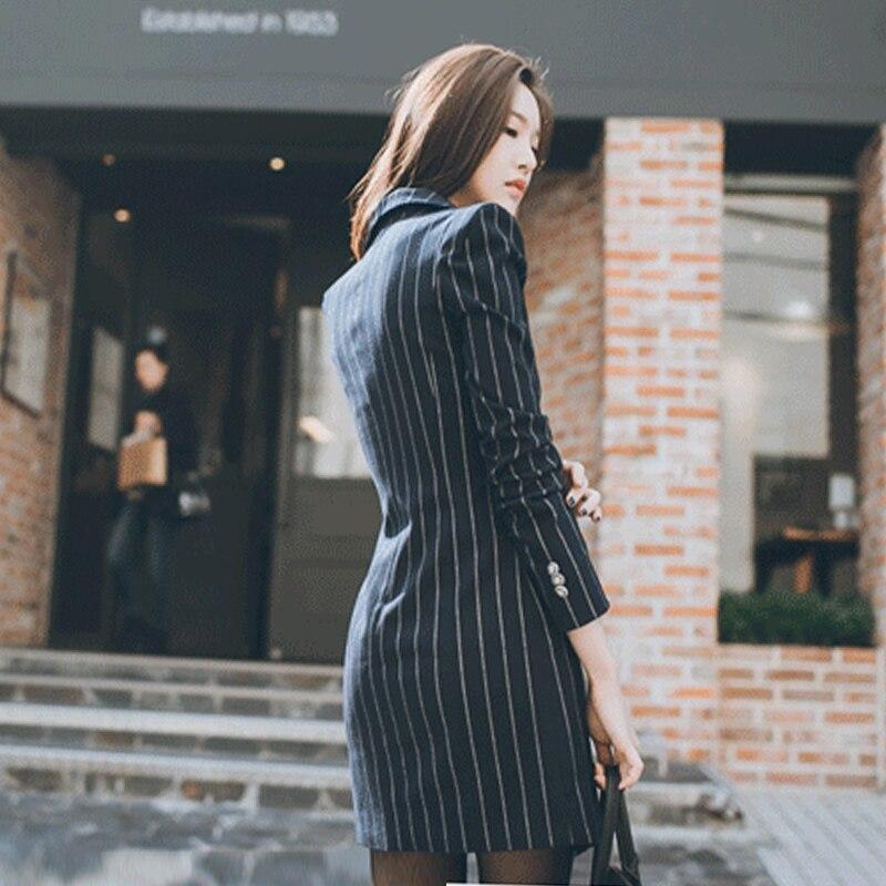 Rayé Breasted Long 2017 coréen Jupe Entaillé De Manches Slim Blaser Blazers Femmes Manteau Mode Double Femenino Nouvelle Automne Longues Multi xBoerdCWQ