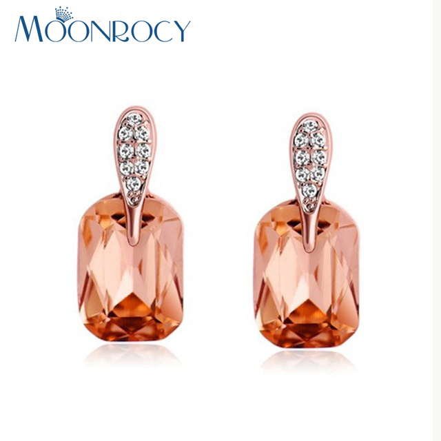 Moonrocy Free Shipping Fashion Rose Gold Color Cubic Zirconia Square Brown Crystal Earring Jewelry For
