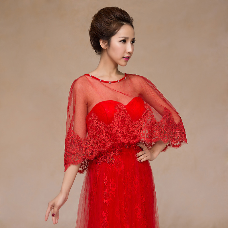 f151456a580 2018 New Arrival Red Ivory thin Lace Bridal Boleros Women Ladies Wedding  Jackets Plus Size For Wedding Accessories-in Wedding Jackets   Wrap from  Weddings ...