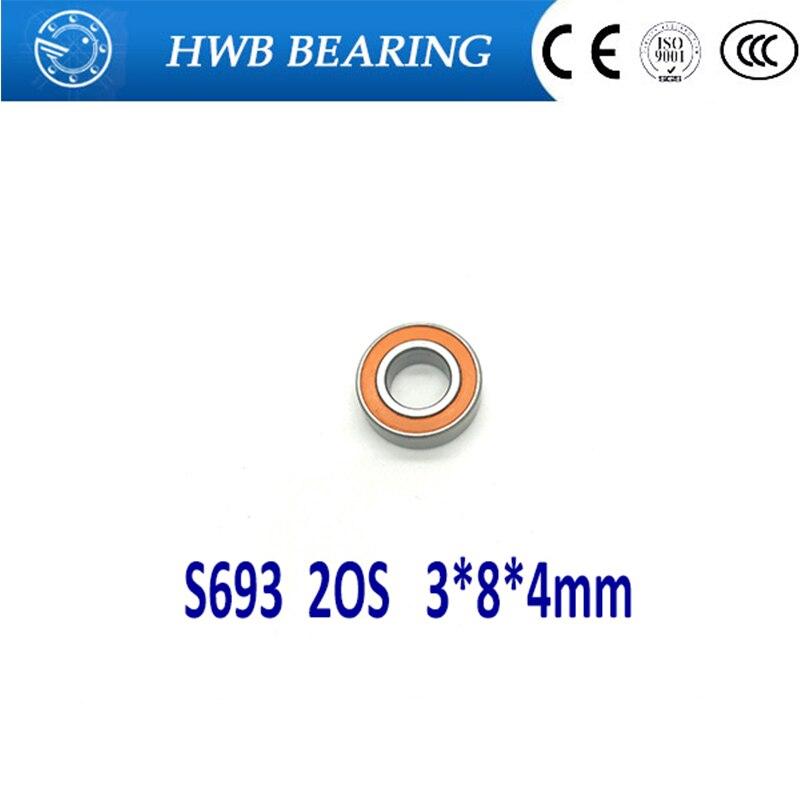 Livraison Gratuite 1 PC S693 2OS 3x8x4 CB ABEC7 Hybride Céramique inoxydable Dry Lube Moulinet AYANT SMR693C 2OS A7 LD S693-2RS