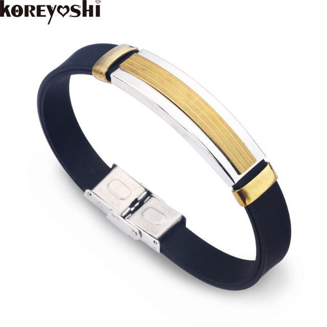 Fashion Silicone Bracelets Bangles Sports Gear Rubber Charm Bracelet For Men Women Stainless Steel Jewelry