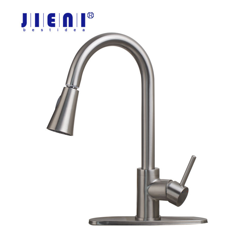 US Pull out Spray Kitchen Faucet Mixer Tap brushed nickel single hand kitchen tap mixer brass 8688 With Cover Plate kitchen faucet brass brushed nickel faucet for kitchen tap pull out rotation spray mixer tap torneira cozinha