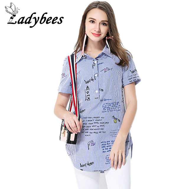 LADYBEES Plus size 5XL T-shirt Women Striped Printed Pattern Tops Loose  Button Letter TEE 2018 Summer Shirts big size L - XXXXXL 9e2ef1c98804