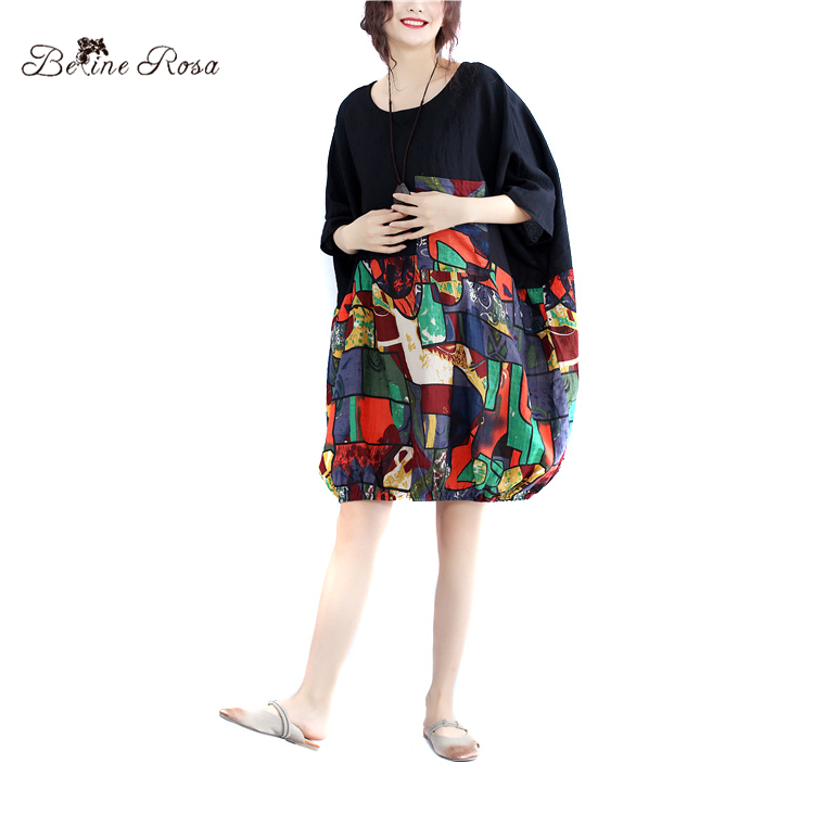 BelineRosa 2017 Plus Size Dresses National Style Plaid Impression Printing Batwing Design Short Dress Women 5XL 6XL BSDM0010