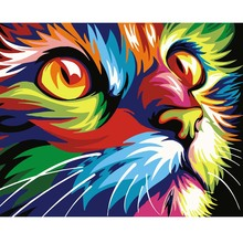WEEN Cat Paint By Number Colorful Animal,DIY Painting by numbers,Home Decor Oil Picture Canvas,Acrylic 40x50cm