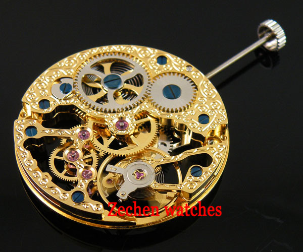 17 Jewels Gold Full Skeleton fit parnismens Hand Winding Mechanical Movement For Mens Watch цена и фото