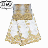 White African Bazin Riche Lace Fabric 5 Yards 2 Yards Tulle Lace Embroidery Beads High Quality