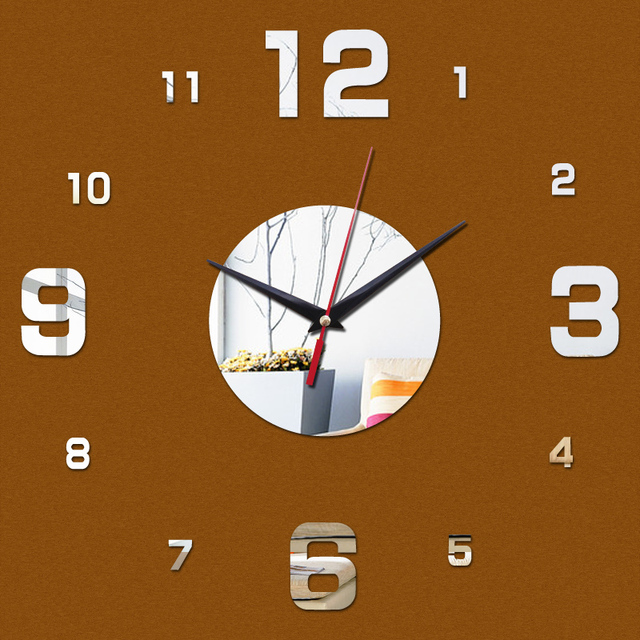 2016 new diy wall clock digital clocks watch horloge acrylic 3d mirror stickers morden living room still life  quartz needle
