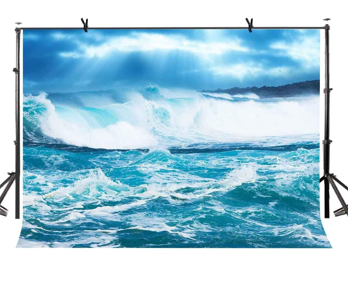 7x5ft Big Waves Backdrop Azure Blue Sea Wave Tide Photography Background and Studio Props