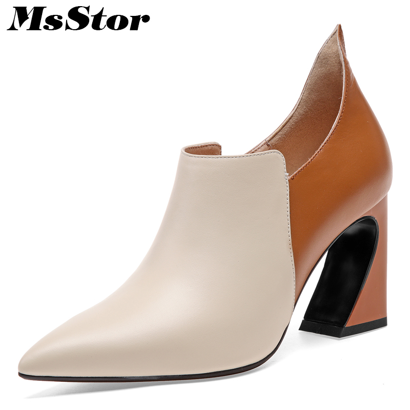 MsStor Women Boots Hot Selling Pointed Toe Square heel Ankle Boots Women Shoes Mixed Colors Genuine Leather Boots Shoes For Girl xiangban handmade genuine leather women boots high heel ankle boots pointed toe vintage shoes red coffee 6208k11