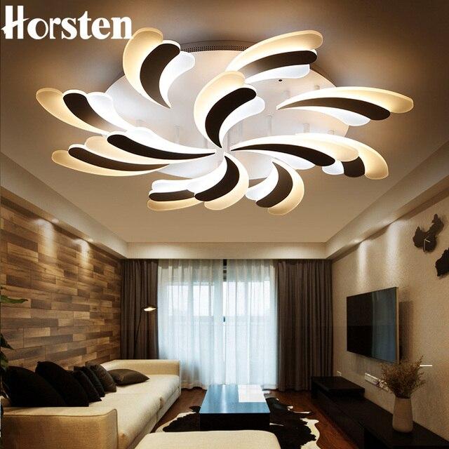 Horsten baru ruang tamu modern yang dipimpin langit langit cahaya akrilik bulu kap lampu desain