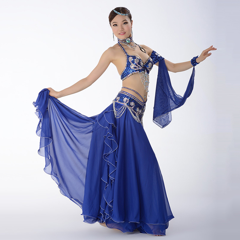Belly Dance Costume Performance Belly Beading Cloth for Women Belly Dance Costumes Dance Bra, Belt, Skirt Clothing Sets-in Belly Dancing from Novelty & Special Use    2