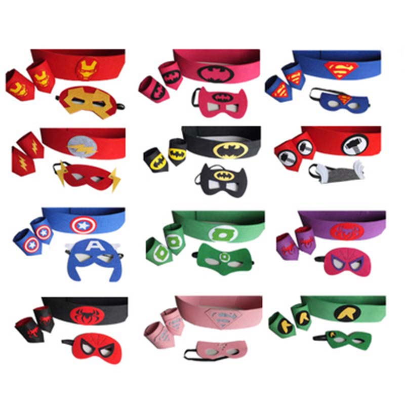 Super Hero Cosplay Mask Wrist Belt Halloween Party Dress up Costume Masks Kids Birthday Party Superhero Favor Gifts