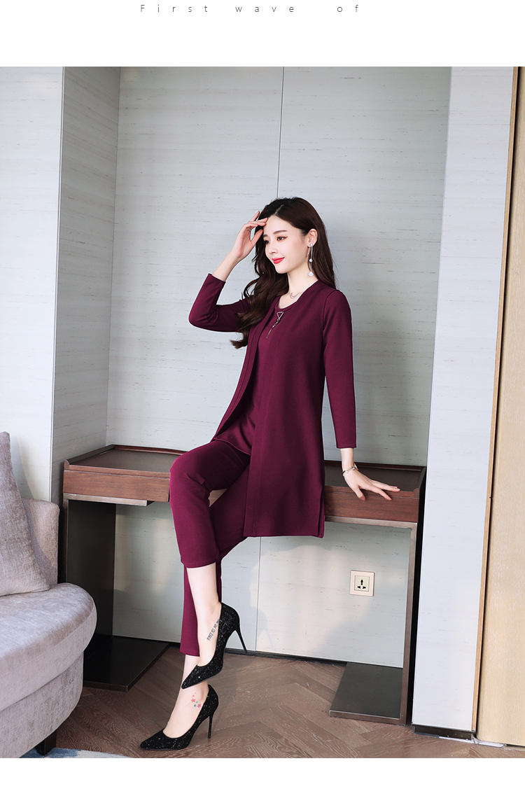 Spring Autumn 3 Piece Set Women Long Coat T-shirt And Pants Sets Casual Elegant Three Piece Sets Suits Women's Costumes 60