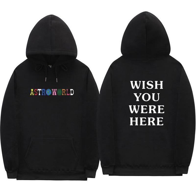 2018 Travis Scott Astroworld WISH YOU WERE HERE Hoodies Fashion Letter Print Hoodie Streetwear Man And Woman Pullover Sweatshirt