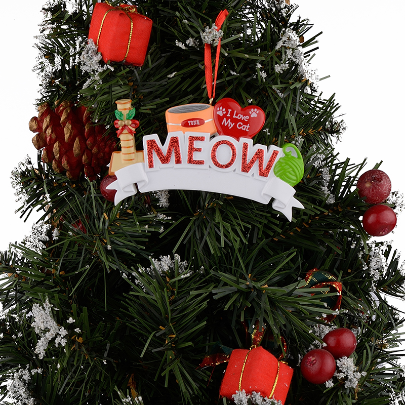MEOW WOOF I Love My Cat Dog Polyresin Personalized Pet Christmas ...
