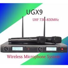 Беспроводной микрофон Системы бренд ugx9 профессиональный микрофон 2 канала UHF Динамический Профессиональный 2 карман микрофон караоке