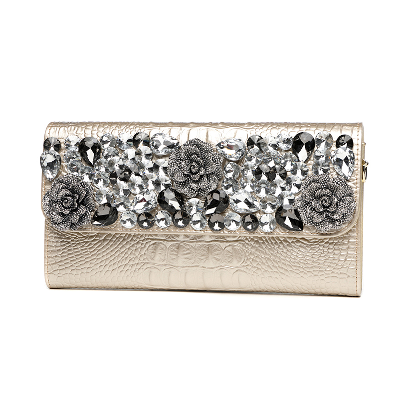 Womens Banquet Diamond Flowers Clutch Wallet Ladies Long Purse Shoulder Bag Handbag Alligator Genuine Leather Clutches Golden celebrity day clutches high capacity handbag fashion star long wallet purse evening banquet chains shoulder crossbody bag zipper