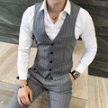 Qualidade Colete Formal de Moda Projetos Stripe Mens Colete Vestido Plus Size Slim Fit Colete Chaleco Hombre Business Casual Homens Colete