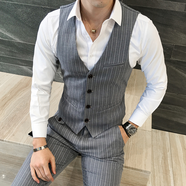 4779879749 Quality Formal Vest Fashion Designs Stripe Mens Dress Vest Plus Size Slim  Fit Waistcoat Chaleco Hombre