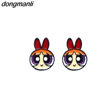 WS1053 2017 new cute The Powerpuff Girls Blossom Bubbles Buttercup Character girl earrings