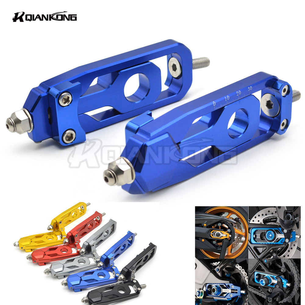 CNC Motorcycle Accessories Rear Axle Spindle Chain Adjuster Blocks chain adjuster tensioners For Yamaha MT-09 FZ-09 MT 09 FZ 09