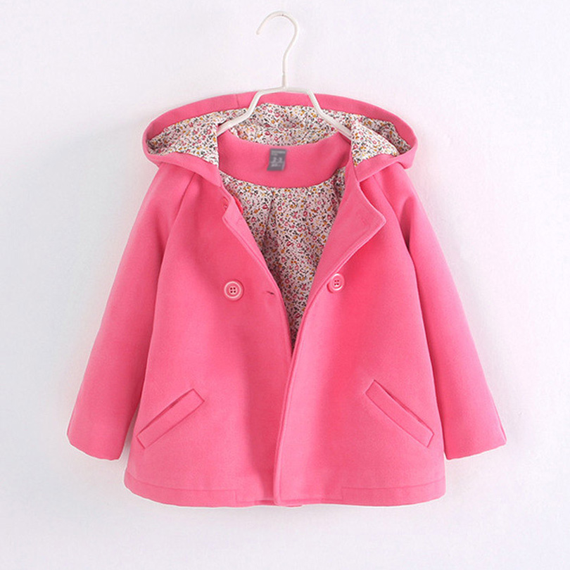 Kids Children Clothing Baby Girls Princess Double Breasted Hooded Woolen Overcoat Trench Girls Wool Dress Coat Teenager 2-12Y double breasted wool blend longline trench coat