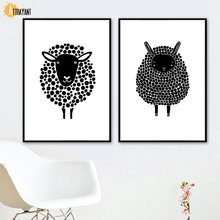 Black White Sheep Wall Art Canvas Painting Nordic Posters And Print Animal Wall Pictures For Living Room Scandinavian Home Decor(China)