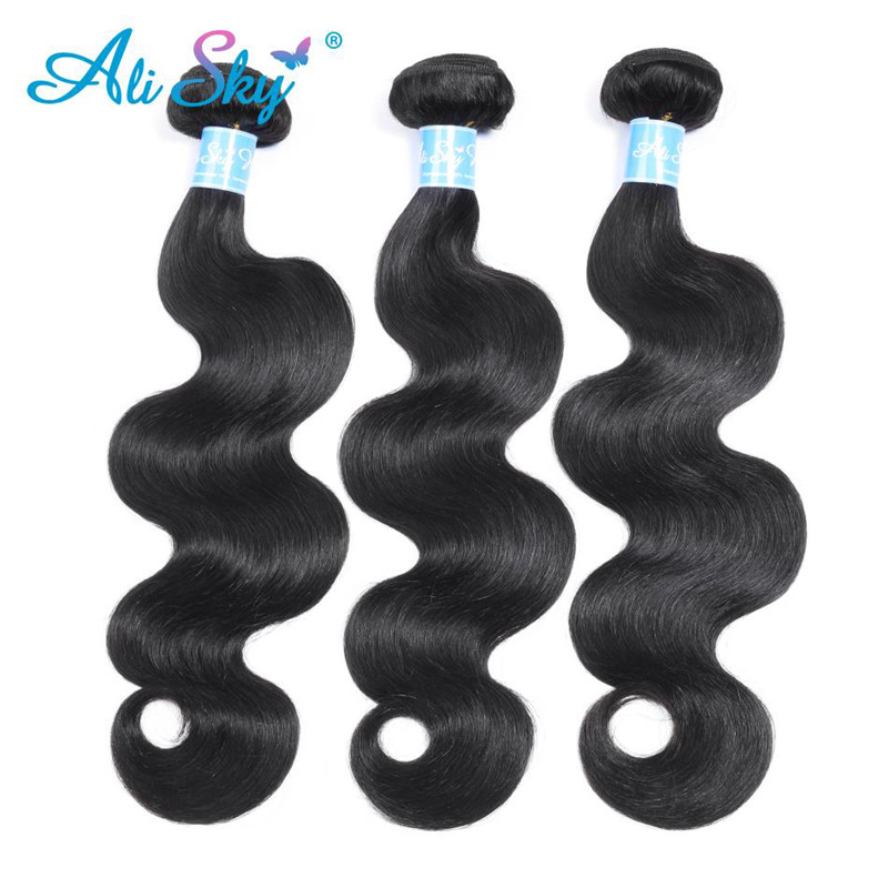Alisky Hair Brazilian Body Wave 3 Bundles With Lace Closure 100 Remy Human Hair Bundles With Closure 4 4 Human Hair Weave in 3 4 Bundles with Closure from Hair Extensions Wigs