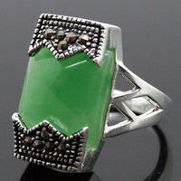 Free Shipping 12 20mm Rare Marcasite Natural Green 925 Sterling Silver Ring Size 7 8 9