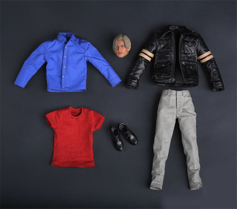 Mnotht CT2015005 BioHazard 6 Resident Evil 6 Leon 1/6 Scale Male Solider Head Sculpt Leather clothing shirt Shoes l30 1 6 scale resident evil 6 leon scott kennedy full set action figure for collections