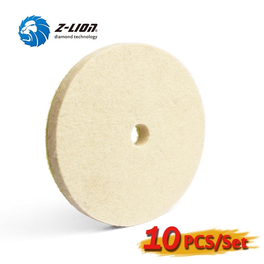 Z LION 10pcs 5 Inch Wool Buffing Pad Fine Wool Felt Polishing Wheels Car Glass Polishing