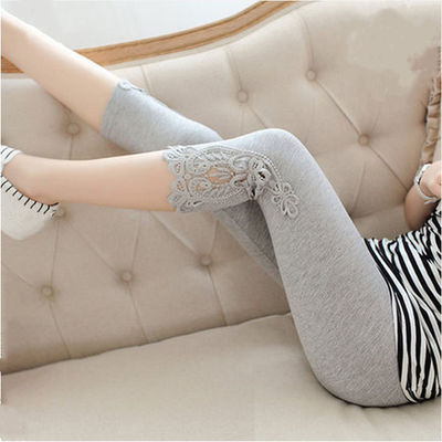 afa4e0a55daf9 2019 Maternity summer lace leggings candy colors pregnant women leggings  belly waist side patchwork lace skinny fashion pants