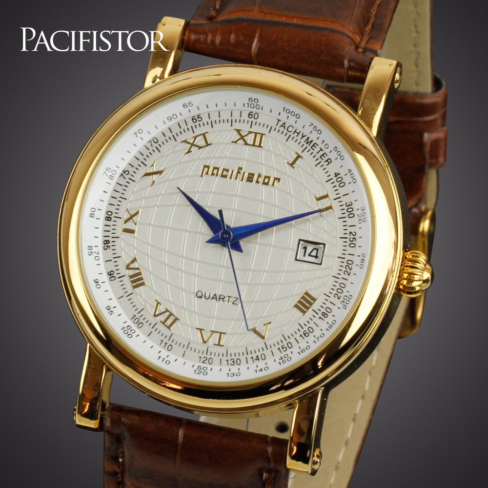 PACIFISTOR Mens Watches Top Brand Luxury Elegant Gold Watch Men Women Dayjust Date Leather Watches For Men Relogio Masculino