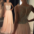 Long Graduation Dresses 2017 O-Neck A Line Beaded with Rhinestones See Through Prom Dresses Evening Gowns Formal vestido longo