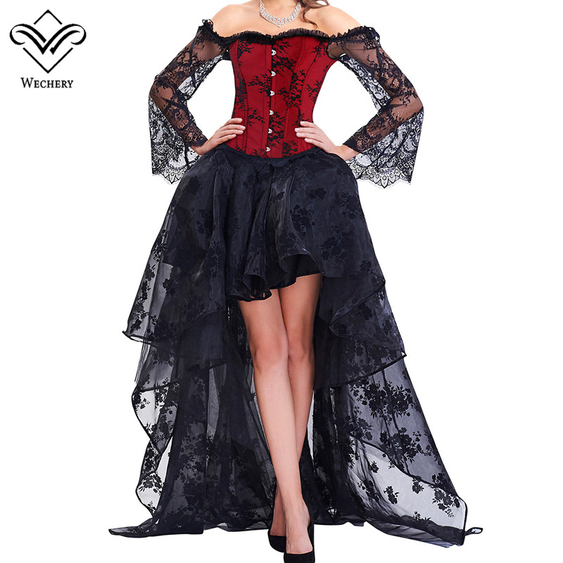 Wechery Victorian Corset Skirt Retro Off Shoulder Floral Slimming Tops Skirts for Women Black Red Sexy High Low Stage Clothes