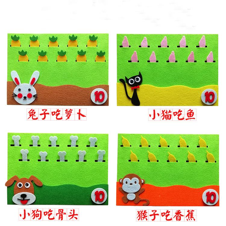 Toys For Children Diy Kindergarten Non-woven Wall Sticker Animals Eating Food Early Education Montessori Aids Math Puzzle Toy