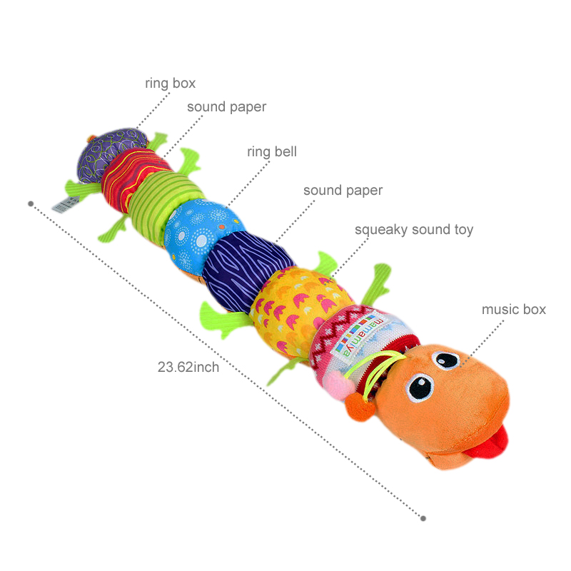 60cm Soft Baby Toys Musical Stuff Caterpillar With Ring