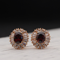 High Quality Rose Gold Color Plated Luxurious Earring Without Pierced Ears Jewelry With AAA Cubic Zirconia